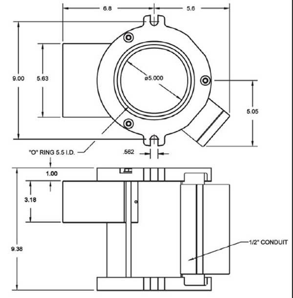 500-P MagnaValve Dimensions - Electronics Inc