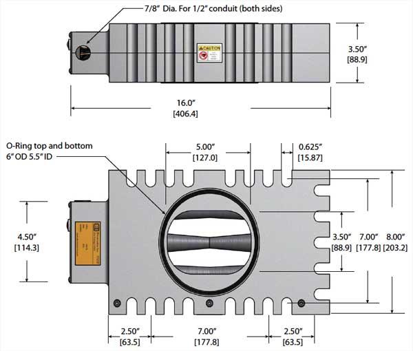 LP2000VAR MagnaValve Dimensions - Electronics Inc