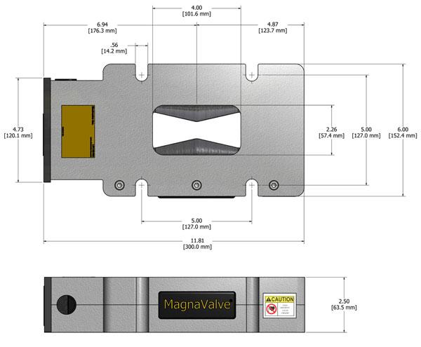 VLP1000 MagnaValve Dimensions - Electronics Inc
